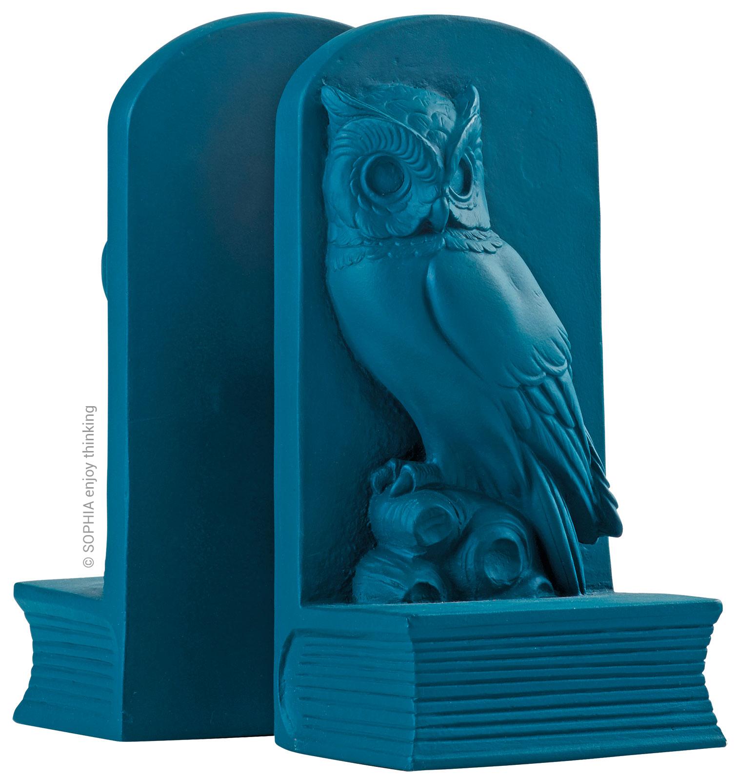 """2-teilige Buchstütze """"Owl blue"""""""