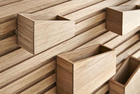 """Flexibler Wand-Organizer """"Input"""" inkl. 8 Boxen, Holz"""