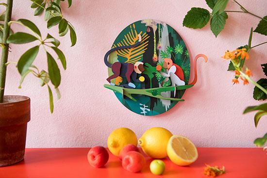 "3D-Wandobjekt ""Jungle Monkeys"" aus recyceltem Karton, DIY"