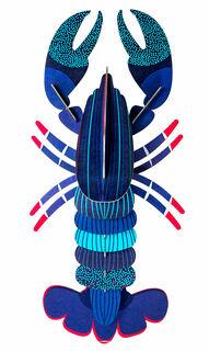 "3D-Wandobjekt ""Blue Lobster"" aus recyceltem Karton, DIY"