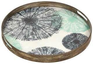 "Tablett ""Parasol"" mit Hinterglas-Dekor"
