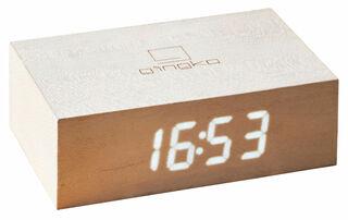 """Kabellose LED-Tischuhr """"Flip Click Clock"""" mit Alarmfunktion, Version in Ahornholz"""