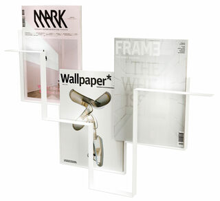 """Wand-Zeitschriftenhalter """"Guidelines"""" (ohne Deko), Version in Weiß"""