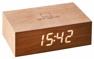 "Kabellose LED-Tischuhr ""Flip Click Clock"" mit Alarmfunktion, Version in Kirschholz"