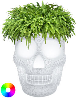 "Kabellose LED-Designerlampe / Pflanzkübel ""Mexican Skull"" mit Farbwechsel - Design Studio Job"